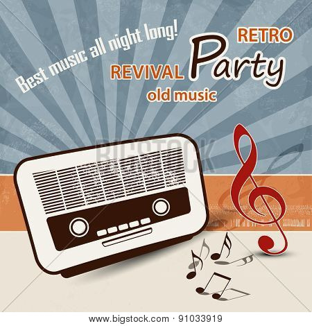 50s music background - retro party poster
