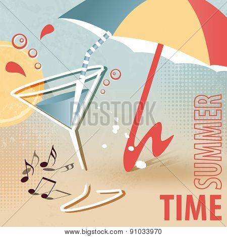 Summer beach template with cocktail and sunshade - summertime fun - retro design