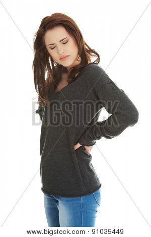 Young female with back pain