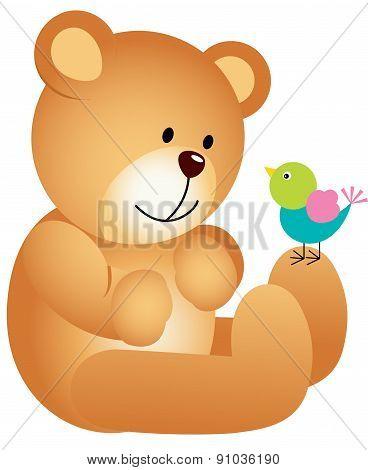Teddy bear with bird