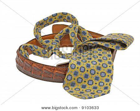 Necktie And Mans Leather Belt.