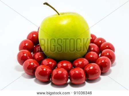 Green Apple With Red  Beads