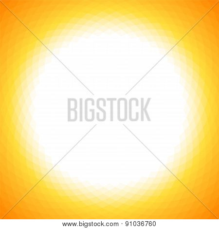 Bright Yellow Sun Geometric Background With White Center