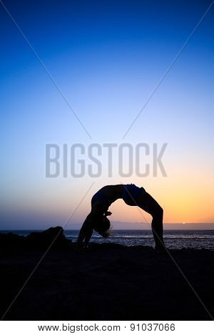 Woman Stretches Yoga Sunset Silhouette