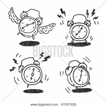 Four alarm clocks icons