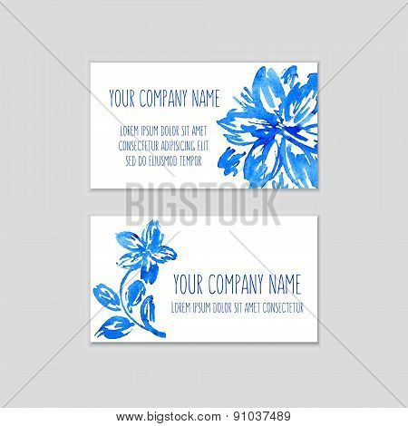 Set Of Business Cards With Watercolor Floral Background.