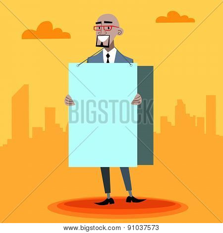 African Businessman With An Advertising Poster
