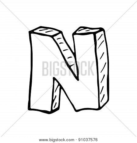 English Alphabet - Hand Drawn Letter N