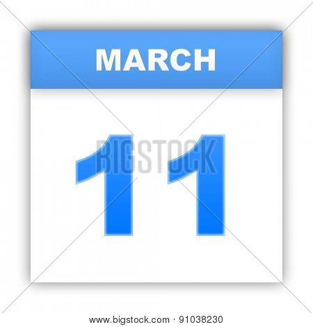 March 11. Day on the calendar. 3d