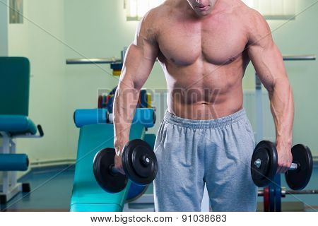 Muscular arm in the gym. Hand holding a dumbbell in suspense