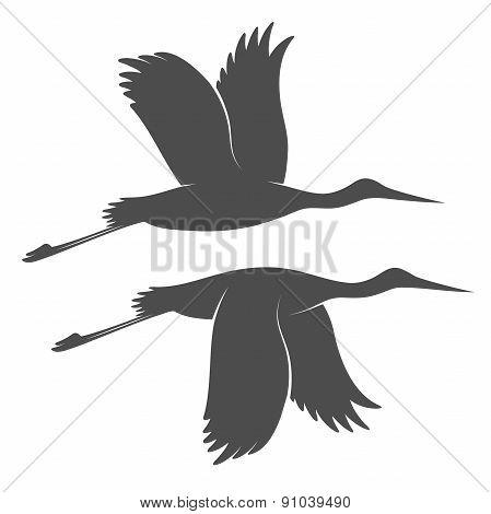Vintage storks silhouettes