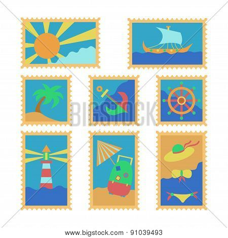 summer travel stamps