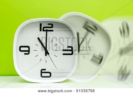 moving white clock