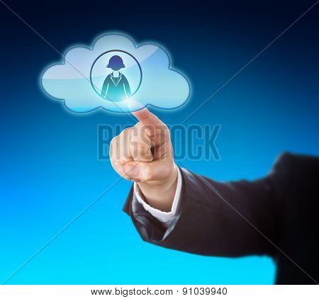 Arm Reaching To Touch Female Worker In The Cloud