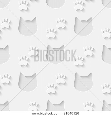 Cat head and paw silhouette seamless pattern