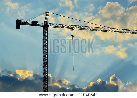 Silhouette Of Construction Crane