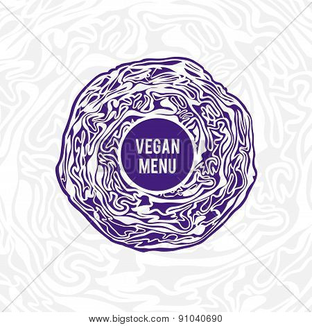 Vegan menu design. Violet cabbage.