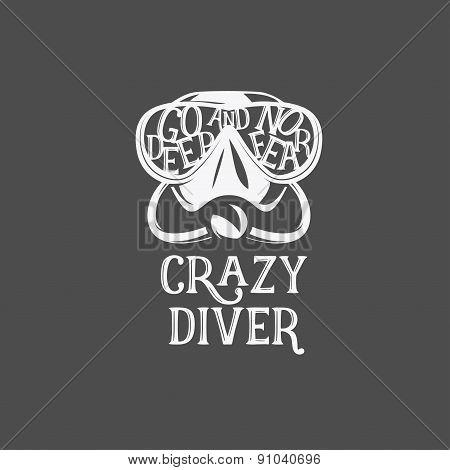 T-shirt print. Crazy diver.