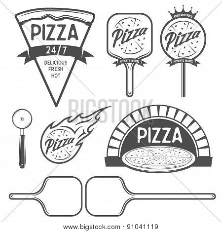 Pizza labels, badges and design elements. Vintage style.