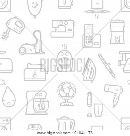 Seamless pattern of home appliances icons