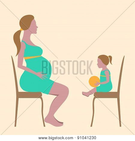 Pregnant woman and a girl