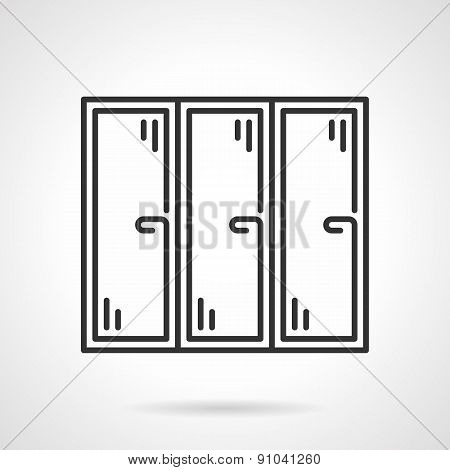 Triple window black line vector icon