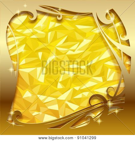 Square greeting card and poster with gold foil texture and sparks. Christmas and New-Year's background with frame