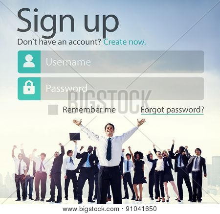 Sign Up Usename Password Log In Protection Concept