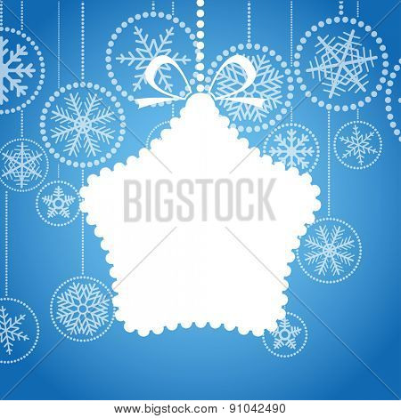 Blue Christmas greeting card with white christmas toy and snowflake background. Raster version