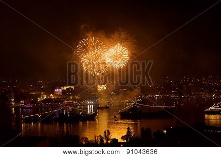 Sevastopol, Crimea - May 9, 2015: Salute 70 Years Of The Victory In The Great Patriotic War, Against