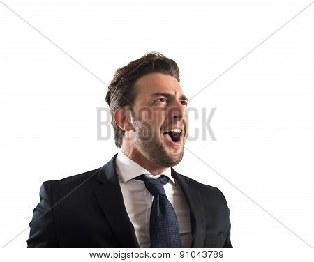 Pissed businessman shout