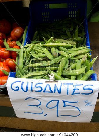 Green Peas Pods In A Market
