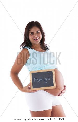 Pregnant woman showing the baby's name