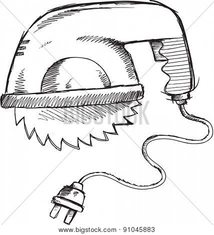 Doodle Sketch Power Saw Vector Illustration Art
