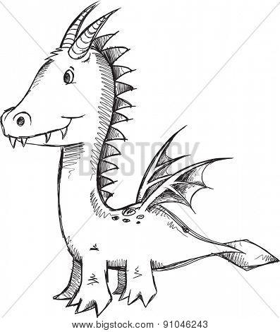 Doodle Sketch Dragon Vector Illustration Art