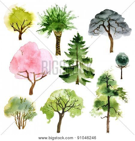 Set of 9 watercolor trees