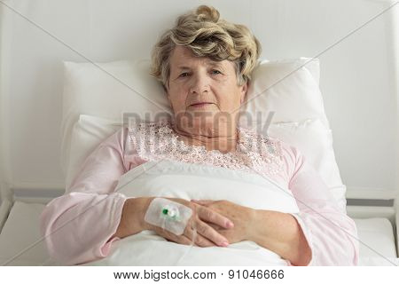 Elder Woman With Iv Drip