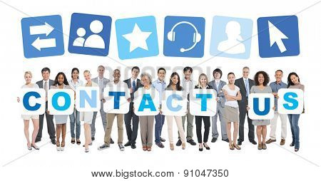 Contact Us Business People Team Teamwork Success Strategy Concept