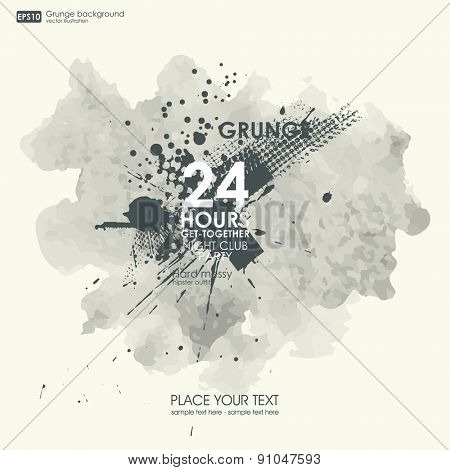 Grunge textures. Abstract vector grunge background poster for party. Grunge print for t-shirt. Abstract dirt backgrounds texture. Grunge banner with an inky dribble strip with copy space.