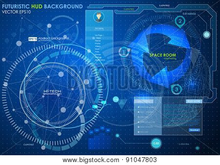 web futuristic user interface. Abstract polygonal space low poly dark background with connecting dots and lines. Vector science Polygonal background. Futuristic HUD background.
