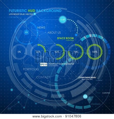 web loding futuristic user interface. Abstract polygonal space low poly dark background with connecting dots and lines. Vector science Polygonal background. Futuristic HUD background.