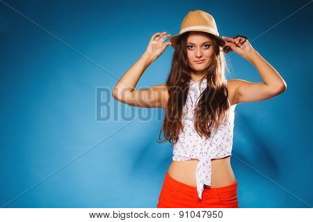 Happy Girl In Summer Clothes And Straw Hat.