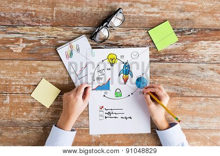 business, planning, startup, management and people concept - close up of female hands writing on paper with scheme and eyeglasses on table