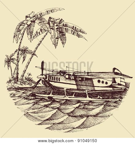 Hydroplane on sea vector illustration