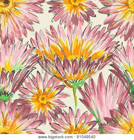 Retro floral seamless pattern, watercolor pink flowers