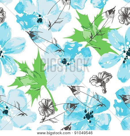 Fresh floral paint seamless pattern