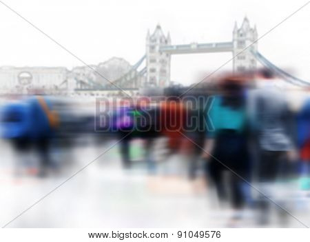 Crowd People Commuter City Travel Walking Concept