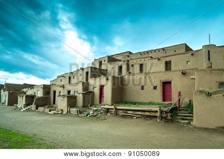 Taos Pueblo - Adobe Settlemenets Of Native Americans.