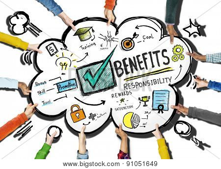 Benefits Gain Profit Earning Income Support Team Concept