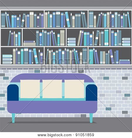 Reading Seat In Front Of A Bookcase.